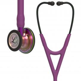 Стетоскоп Littmann Cardiology IV, сливовая трубка, акустическая головка радужная, черное оголовье, 6205